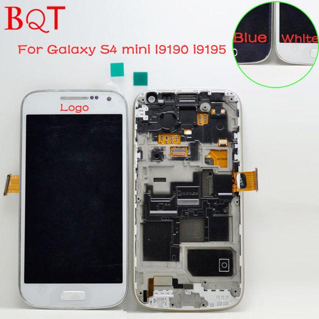 Original para samsung galaxy s4 mini i9190 i9195 pantalla lcd con digitalizador de la pantalla táctil con el conjunto del bastidor del bisel