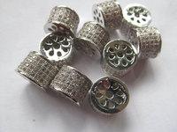 8 12mm Micro Pave CZ Pandora Large Hole Beads Micro Pave Diamond CZ Cubic Zirconia Findings