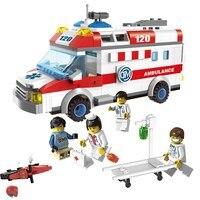 Enlighten 1118 City Ambulance Car Figure Blocks Educational Construction Building Bricks Toys For Children Compatible Legoe