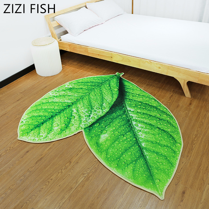 3D feuille d'orme arbre tapis feuille forme vert microfibre tapis absorbant anti-dérapant sous vide tapis de cuisine porte salle de bain tapis de sol