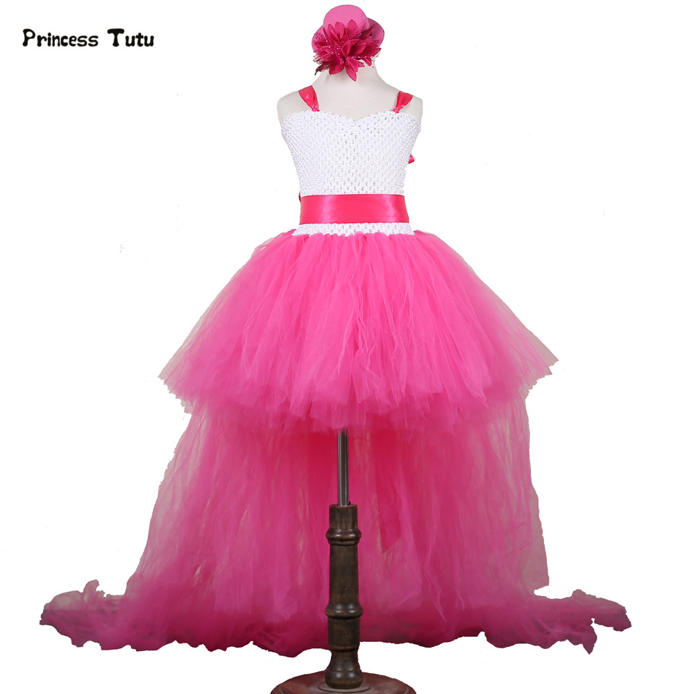V-neck Tulle Girl Dress Train Tailing Princess Flower Girl Dresses Wedding Pageant Ball Gown Girl Party Tutu Dress Kids Vestidos disney princess train case