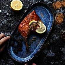 цена на Deep blue ceramic plate oval long plate 12inch 900g big dish for fish chicken wing bar tableware