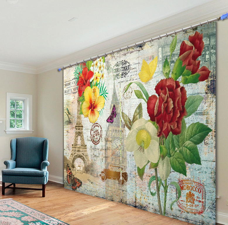 Art Painting 3D Flowers Blackout Curtains Office Bedding Room Living Room Sunshade Window Curtain Bedding Set Custom-made SizeArt Painting 3D Flowers Blackout Curtains Office Bedding Room Living Room Sunshade Window Curtain Bedding Set Custom-made Size