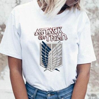 Ataque a Titan t shirt ropa de calle alta camiseta Superior Femenina camisetas harajuku gráfico para mujeres divertidas coreanas ulzzang
