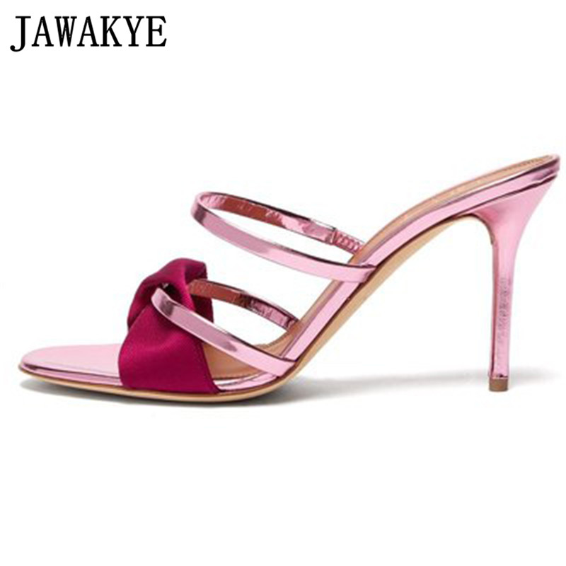 Summer slippers women patent leather narrow banded bowties runway design sandals elegant metal high heel gladiator