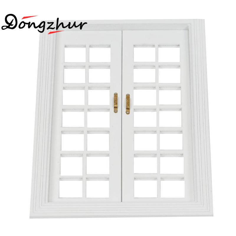 White Color Dollhouse Miniature 1:12 Window Door Doll House Accessories Window Hollow Out DIY Mini Dollhouse Furniture Dropship