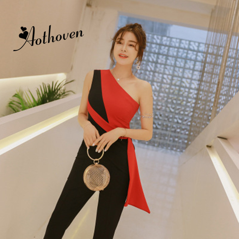 2019 Summer Women Suit Contrast Color Pants Suit One Shoulder Sleeveless Blouse Top and Ankle length Flare Pants Two Pieces Set-in Women's Sets from Women's Clothing    1