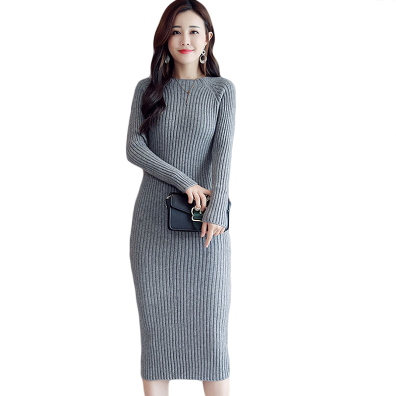 New Knitted Winter Dress Women 2019 Medium Long Knitting Dress Elasticity Slim Package Hip Sexy Pencil Sweater Dress Ladies <font><b>D518</b></font> image