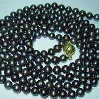 Fashion round beads 7 8mm beautiful black akoya cultured lovely pearl diy necklace making 50BV426