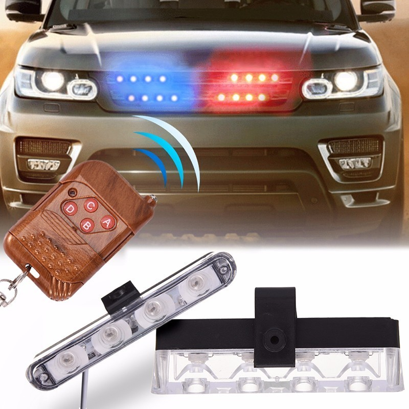Newest DC 12V 2 X 4 LED Strobe Warning Police Light Wireless Remote Car Truck Flashing Firemen Lights Ambulance Day Light цена и фото