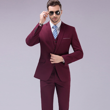 Mens Business Formal Suit Pants Vest Sets + 3 Pieces Slim Suits Wedding Party Blazers Jacket