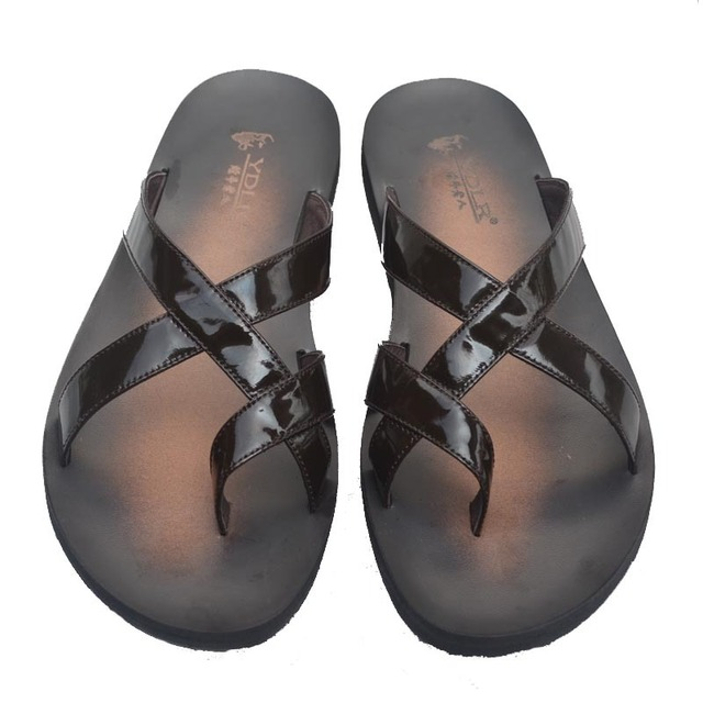 aa1051e0f Free Shipping Fashion Brown Soft Patent Leather Mens Sandals Men Slippers  PU Man Flip Flops Shoes Size Us 38-44