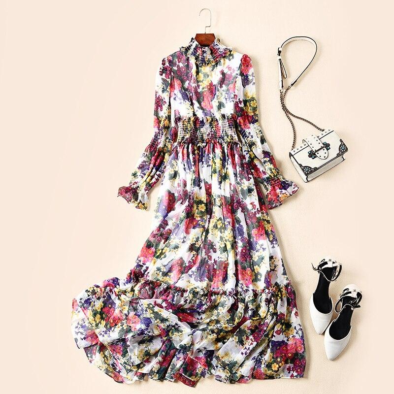 De Vacances Usure Col Américain Défilé Nouveau Mode Femmes Style Et Imprimé S Européen Longue Robe Vent 87wHvqaw