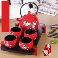 Hot Sale Japanese Style Ceramic Beautiful Kung Fu Teapot Red And Black Tea Cup Set Suit