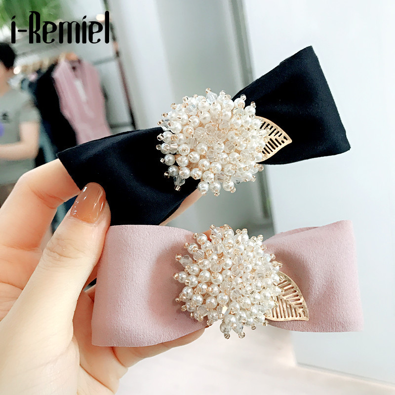 I-Remiel Fashion Hairpin Leather Pearl Hairpin Clip For Women New Bow Crystal Spring Clips Wedding Head Jewelry Hair Accessories