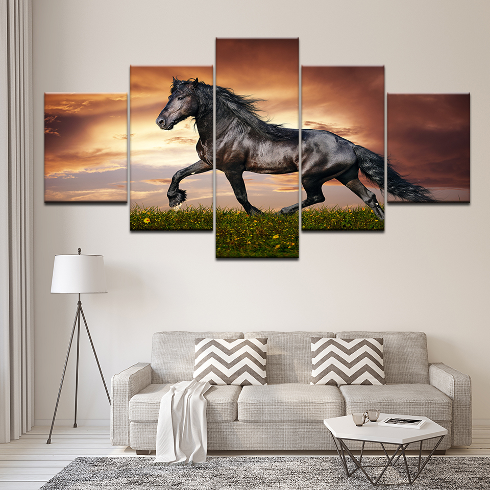 Running Horses Scenery Wall Art Modular Pictures Sunset Animal Landscape Paintings On The Wall Animals Posters For Home Decor