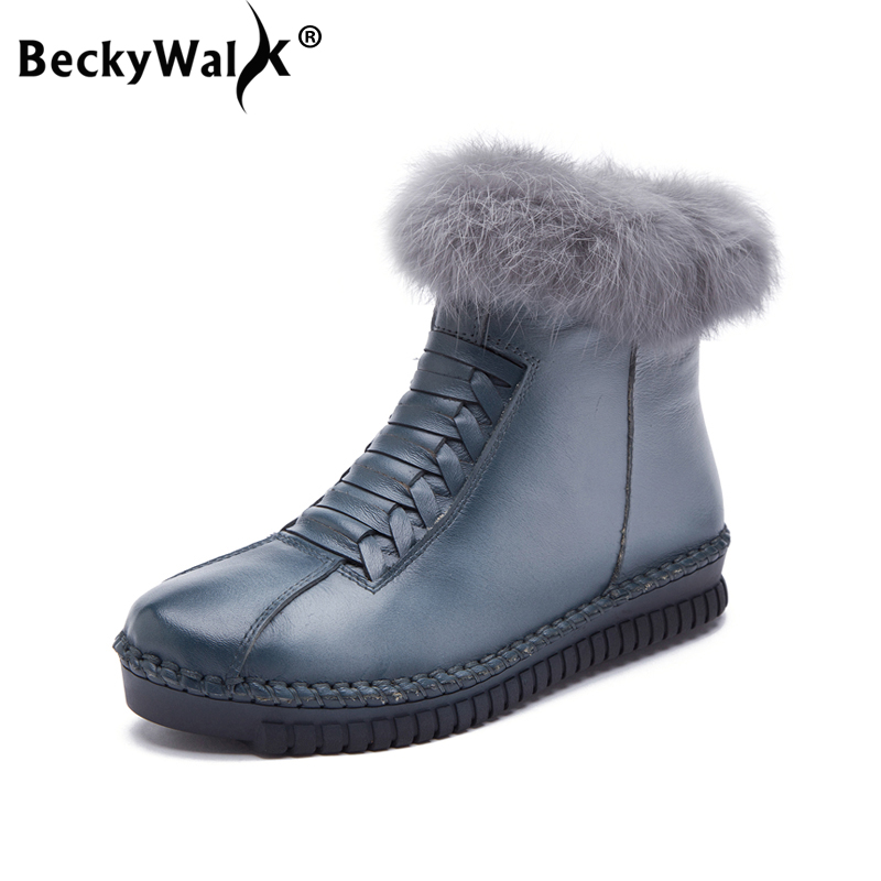 BeckyWalk Rabbit Fur Women Snow Boots Flat Ankle Shoes Women Genuine Leather Winter Boots Warm Plush Casual Shoes Woman WSH3074