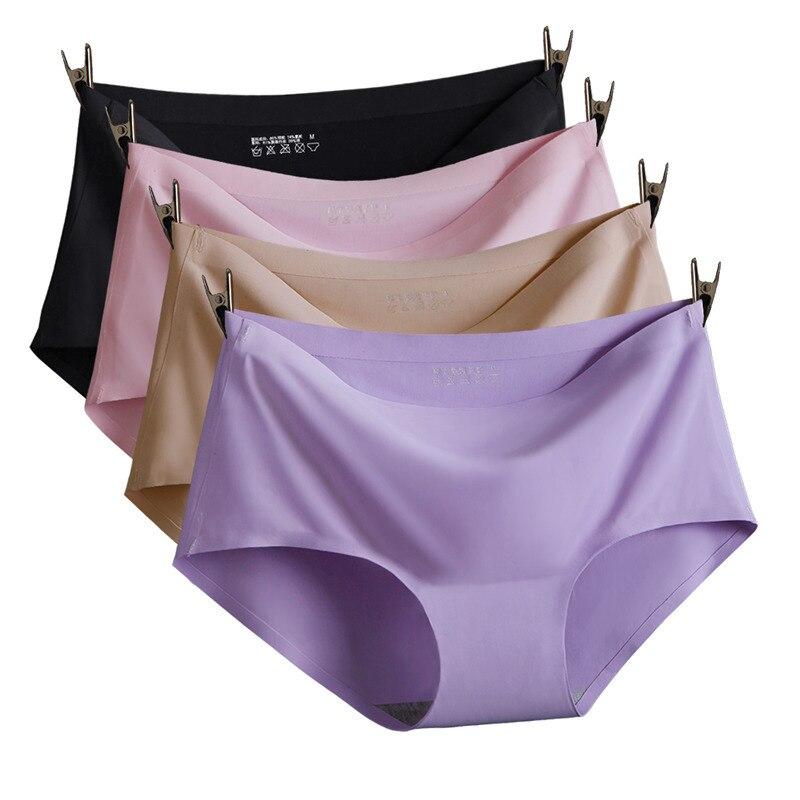 3PCS Fashion Women Seamless Ultra thin Underwear soft briefs Breathable Panty comfortable summer ice silk Intimates