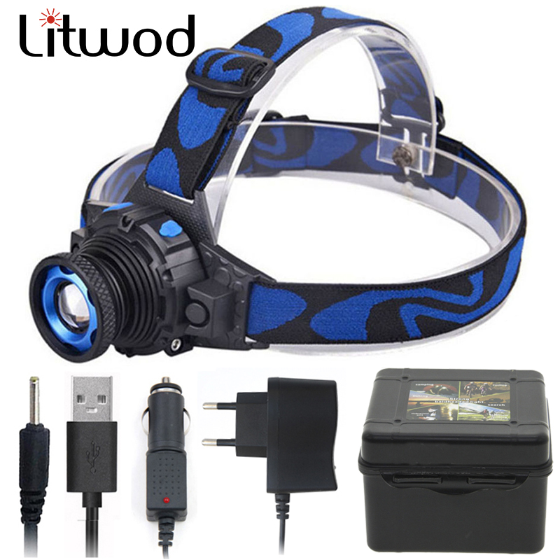 Litwod Z202308 CREE XP-G2 Q5 Build-in Rechargeable Battery Led Bright Headlamp Head Lamp Flashlight Torhc Zoomable