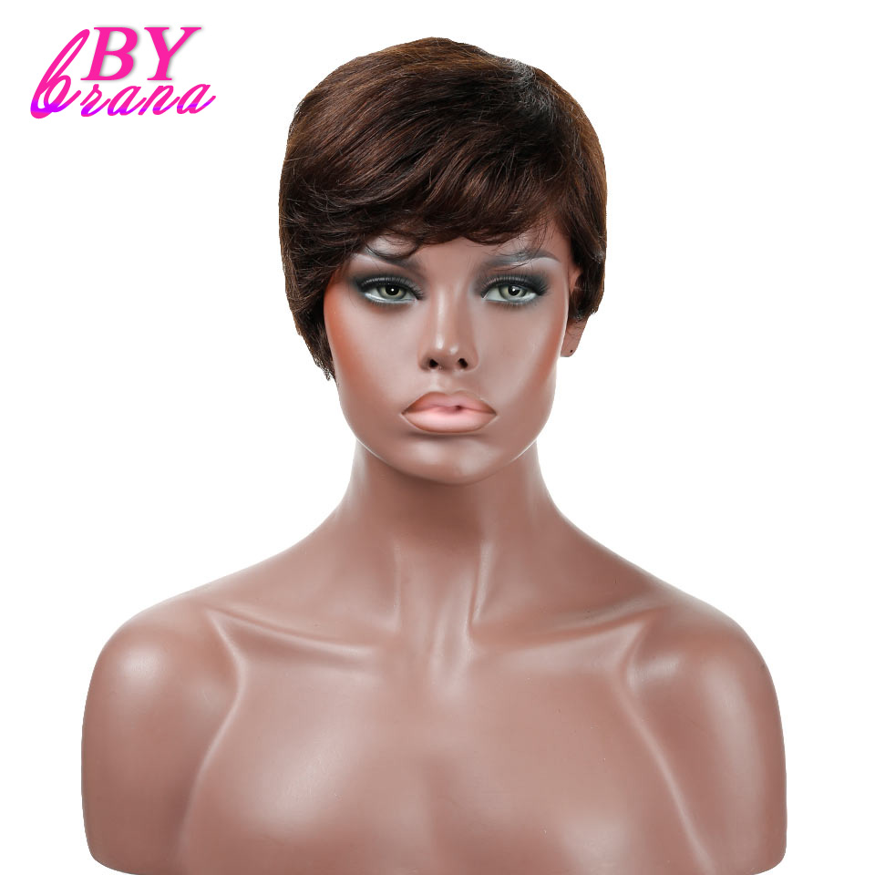 Bybrana 2 Colors Short Straight Human Hair Wigs With Baby Hair Brazilian Remy Hair Short ...