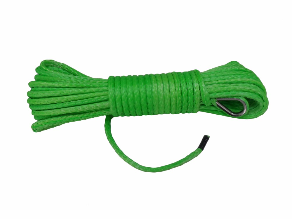 Green 4mm*15m ATV Winch Line,Synthetic Winch Cable Rope,ATV Winch Accessories,Rope for ATV Winch