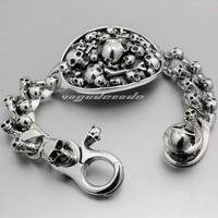 LINSION 7 Length Huge Heavy 925 Sterling Silver Skull Bracelet Mens Biker Rocker Punk Style 8F011 Free Shipping