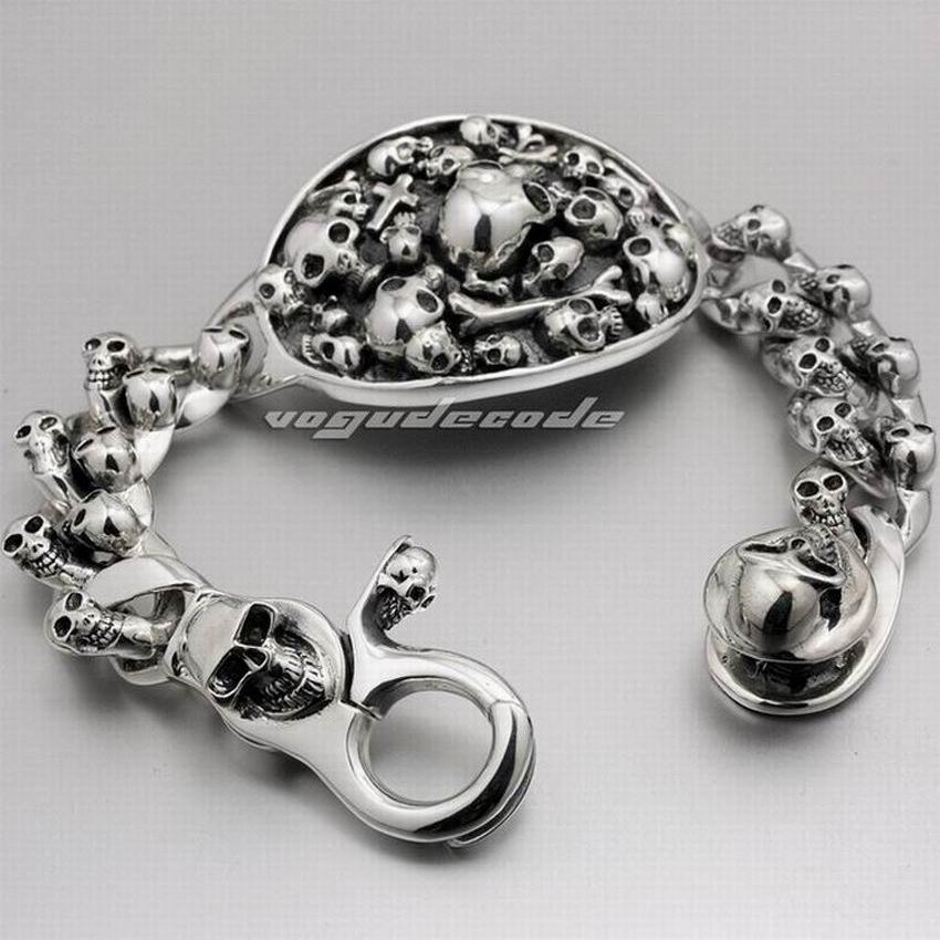 Various Length Huge  Heavy Sterling Silver Skull Mens Biker Bracelet F