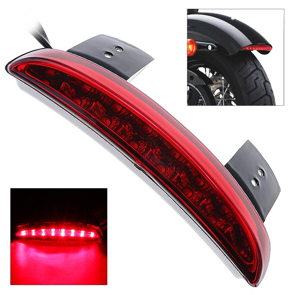 Black + Red 18W 12V Motorcycle Tail Lights Brake Light Racer Rear Mudapron Edge LED Taillight for Harley XL883 / 1200 brand new silver color motortcycle accessories abs plastic led tail light fit for harley harley iron 883 xl883n xl1200n chopped