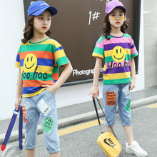 цены kids clothes Girls summer suit 2019 new fashion printing cartoon T-shirt cartoon denim shorts two-piece suit children sets