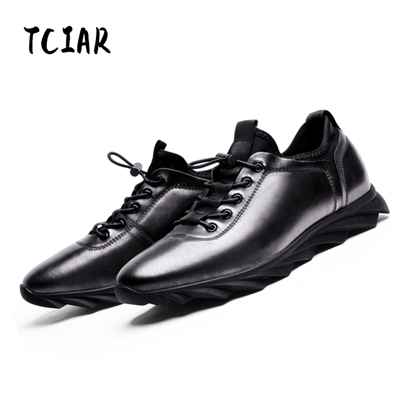 TCIAR New Arrivals Comfortable Breathable Plate Shoes Men Simple Atmosphere Wearable Genuine Leather Casual Shoes D163913-03 2017 new spring imported leather men s shoes white eather shoes breathable sneaker fashion men casual shoes