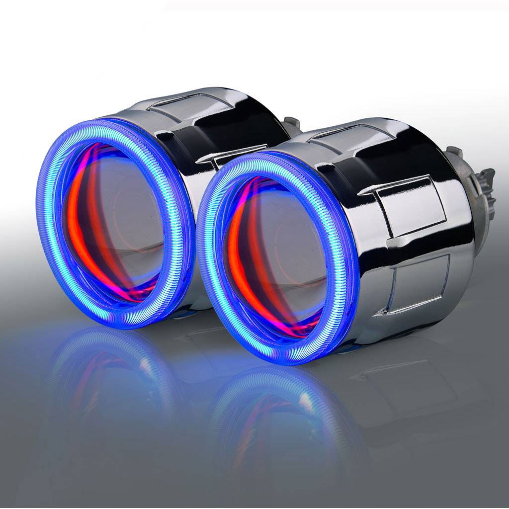 Wholesale - Angel eyes ring bi xenon projector lens light hid xenon kit with xenon h7 HID h1/h4/9005/9006 parking h4 headlights 2 5inch bixenon projector lens with drl day running angel eyes angel eyes hid xenon kit h1 h4 h7 hid projector lens headlight