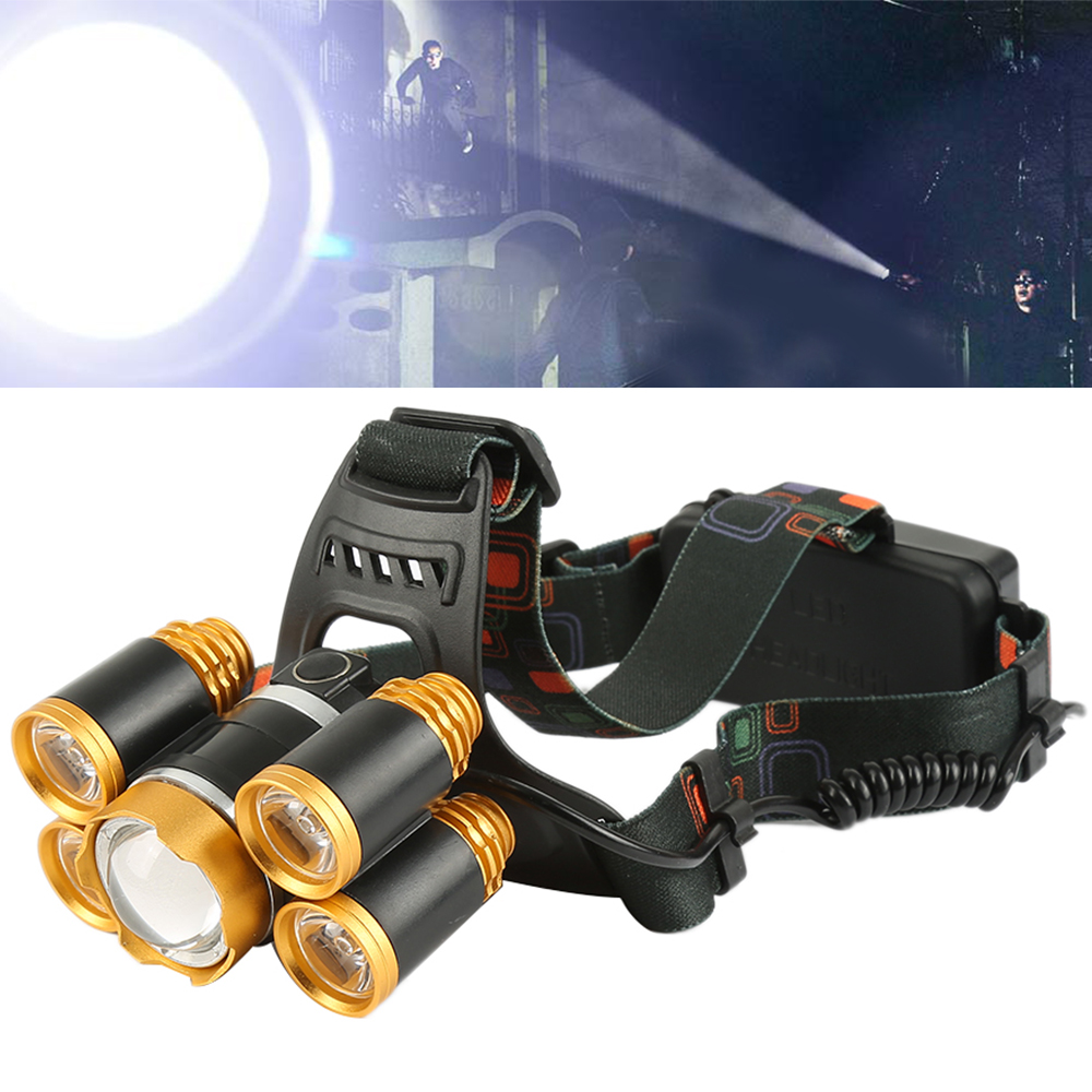800 Lumen Rechargable Headlamp Outdoor Emergency Light 5 LED Spotlight Charging Set for Camping Hunting Hiking Fishing