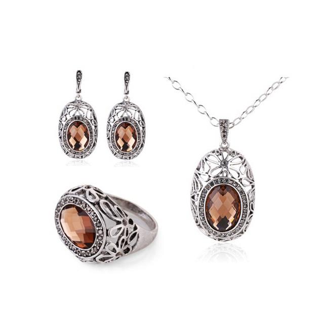 Moda Jóias Vintage Prata Banhado Conjunto Colar de Pingente de Cristal Mulheres Conjuntos de Jóias de Vidro Marrom
