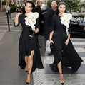 Black and White Chiffon Kim Kardashian Red Carpet Dresses High Low Prom Dress Short in Front Long Back Dress traje de gala ashi