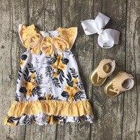 Baby Girls Clothes Kids Wear Summer Light Yellow Grey Floral Soft Ruffles Print Dress Cotton Match