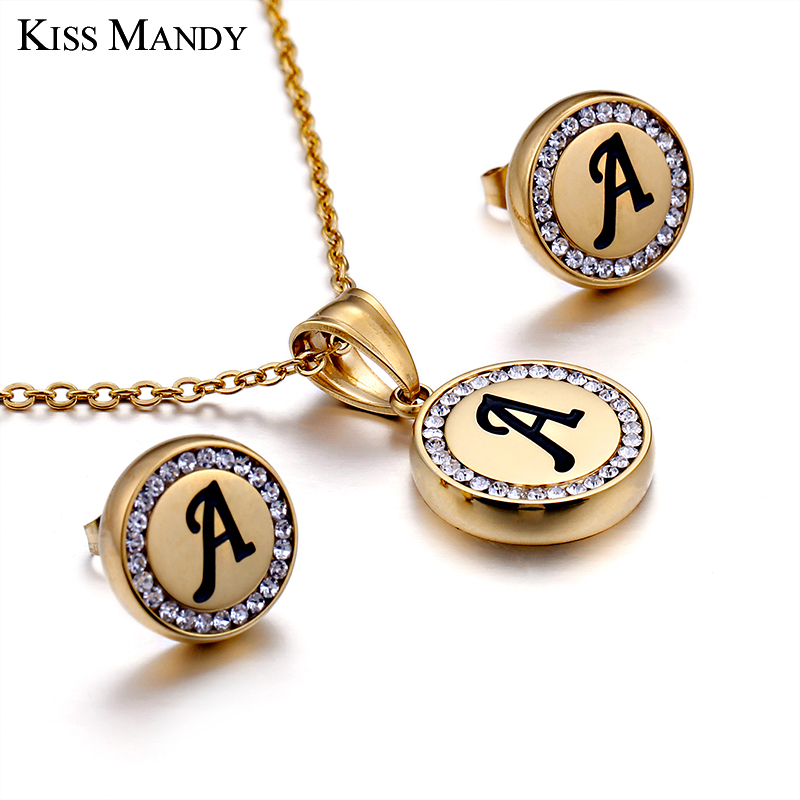 KISS MANDY Stainless Steel Gold Color Alphabet Name Pendant Initial Necklace Chain Personalized Women Jewelry Accessories ZM6 in Pendant Necklaces from Jewelry Accessories