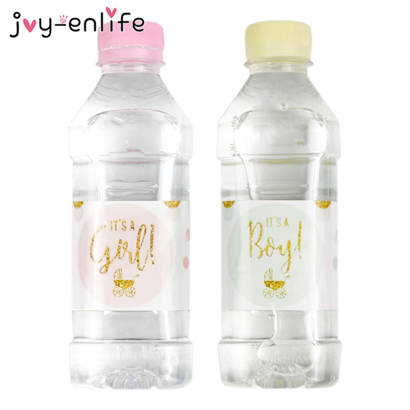 12pcs Baby Shower Decoration Girl/Boy Mineral Water Bottle Gift Stickers Label Baby Shower Birthday Party Bottle Label Stickers
