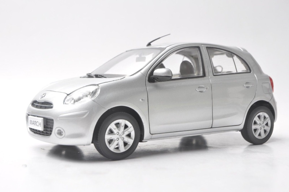 1:18 Diecast Model for Nissan March Micra Silver Minicar Alloy Toy Car Miniature Collection Gifts