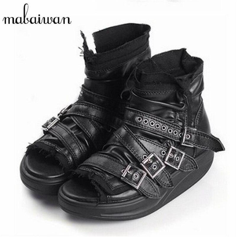 Mabaiwan Punk Stil Kadın Yaz Çizmeler Tokaları Hakiki Deri Platformu Sandalet Peep Toe Gladyatör Sandal Ayak Bileği Patik Takozlar