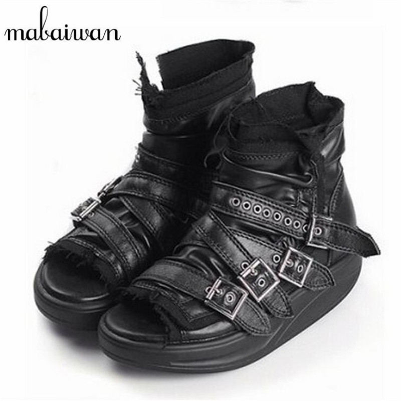 Mabaiwan Punk Style Women Summer Boots Buckles Genuine Leather Platform Sandals Peep Toe Gladiator Sandal Ankle Booties Wedges choudory bohemia women genuine leather summer sandals casual platform wedge shoes woman fringed gladiator sandal creepers wedges