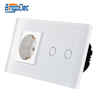 Bingo EU Standrad Switch Socket Touch Light Switch And EU Socket 110 250v Germany Socket Free