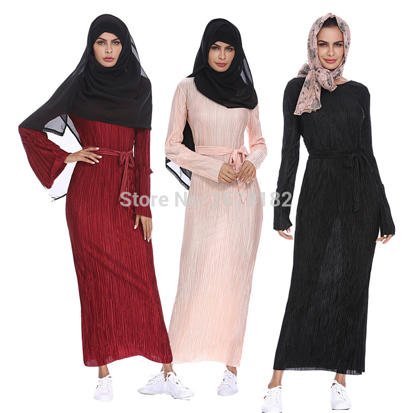 Muslim Adult Fashion Pleated Robe Musulmane Turkish Dubai Speaker sleeve Abaya Muslim Robe Arab Worship Service 1208 wholesale