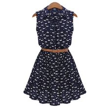 TFGS 2017 New Design Summer New Women Shirts Dress Cat Footprints Pattern Show Thin Shirt Dress Casual Dresses with Belt
