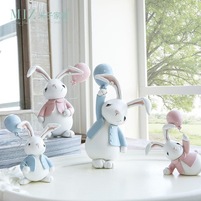 Miz 1 par muñeca de resina conejos traviesos lindo conejito accesorio de escritorio regalo de juguete para niños decoración del hogar sala de niños decoración