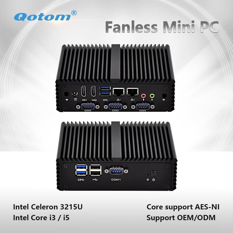 Qotom-Q400P Mini PC Celeron/ Core I3/ I5 Dual Core Fanless Computer Support Win Linux Mini Server With 2 Ethernet LAN