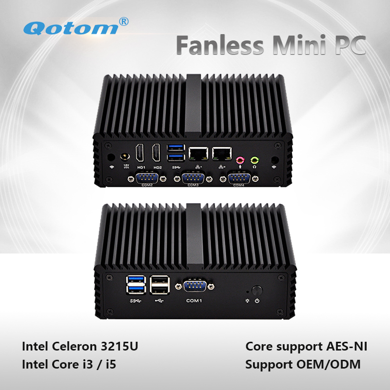 Qotom-Q400P Mini PC Celeron/ Core i3/ i5 Dual Core Fanless Computer Support Win Linux Pfsense Mini Server with 2 Ethernet LAN dc 12v desktop pc win 7 win 8 win 10 linux kingdel mini industrial pc with celeron 1037u processor x86 mini pc dual lan