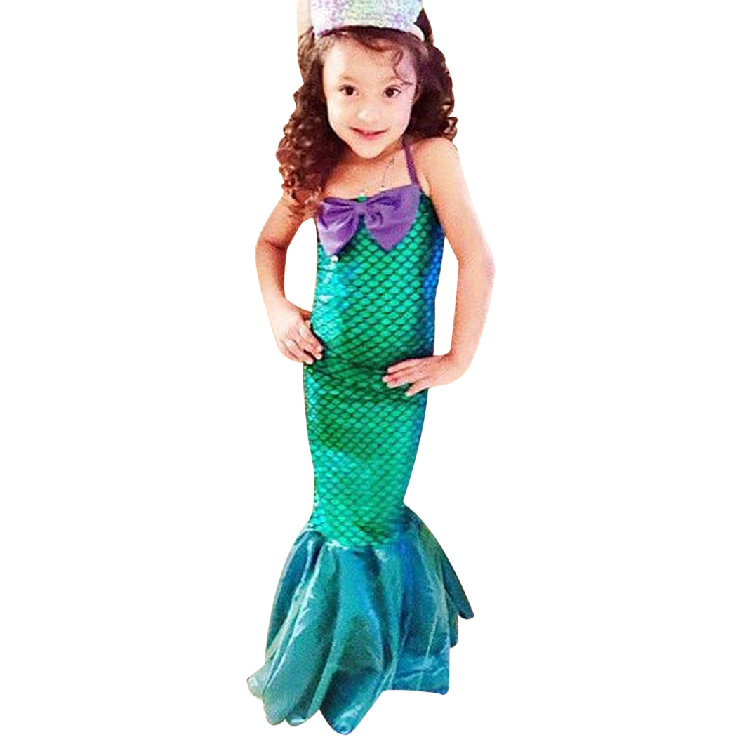 Girls Little Mermaid Trumpet Sequins Fancy Dress Costume