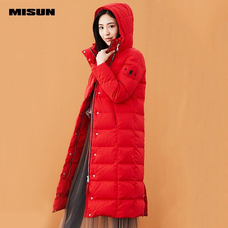 Misun2017 новый на осень зиму сплошной цвет тонкий тепловой утолщение с капюшоном более колено очень длинное пальто femaleMSD V7074