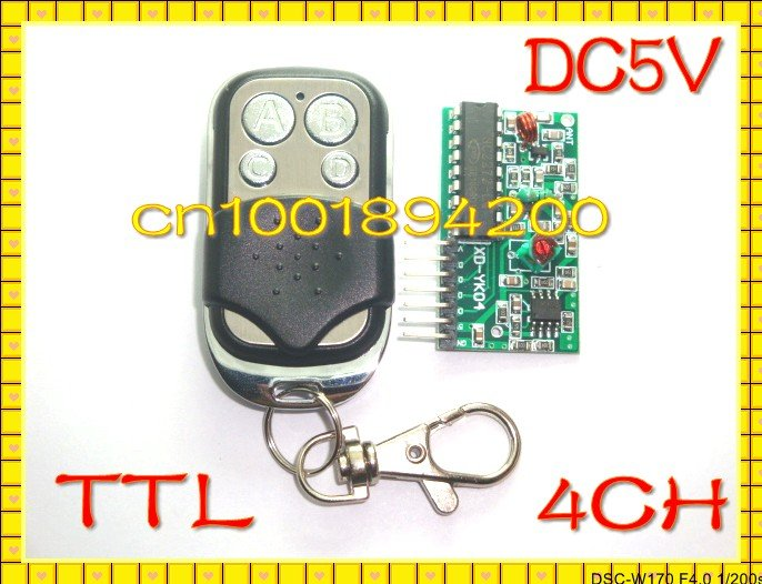 4CH DC5V RF Transmitter &Receiver Module Wireless Remote Control Module System M4/L4 TTL High Low Level Encoding Relay Driver new 1transmitter &4receiver module wireless remote control encoding module system momentery latched rf remote control switches