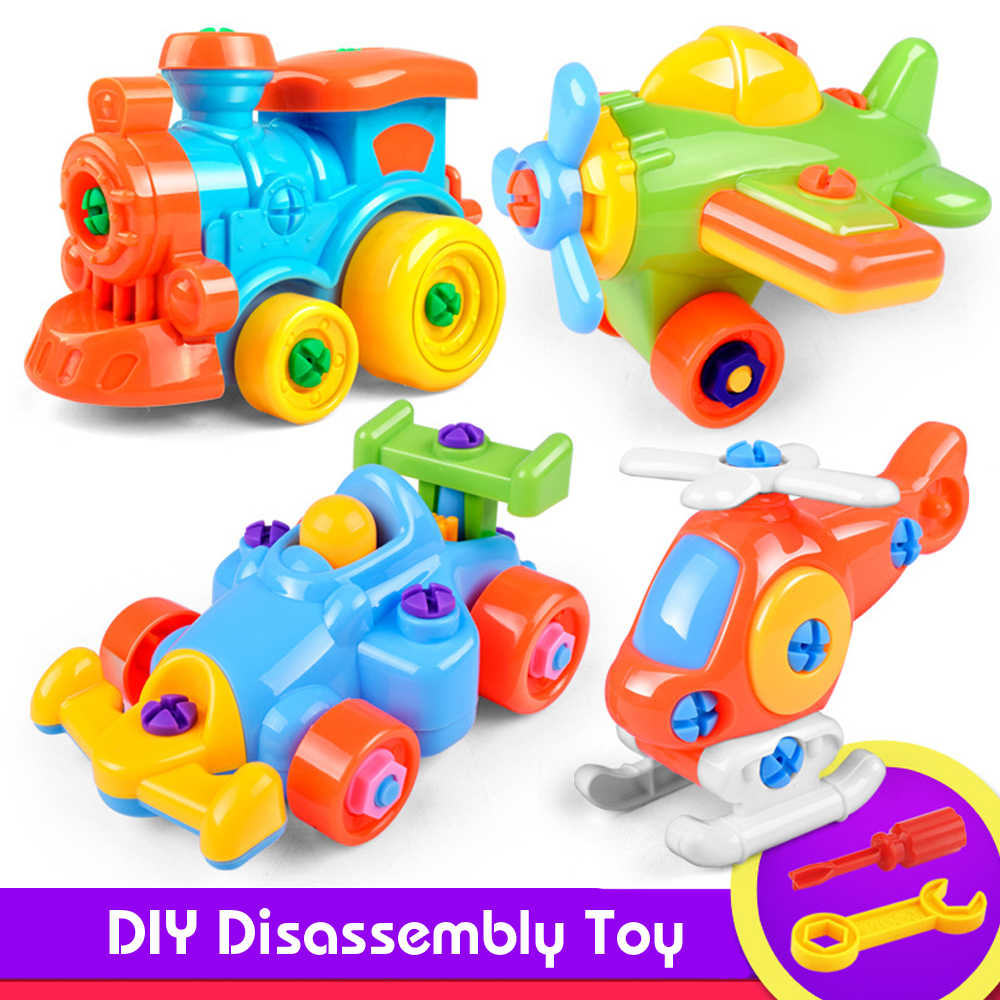 Disassembly Assembly Nut Toy Car/Helicopter Classic Toy With Assemble Screw Driver Early Puzzle Educational Toys For Children